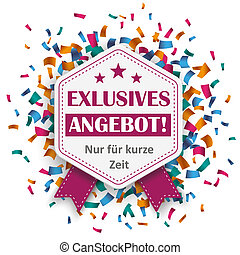 Hexagon Emblem Exklusives Angebot Confetti - German text...