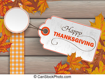 Wood Autumn Foliage Thanksgiving Price Sticker - Foliage...