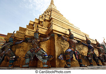 ASIA THAILAND BANGKOK - the temple of Wat Phra Kaew in the...