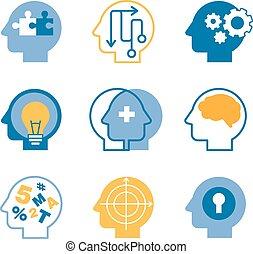Head brain vector icons