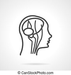 Anatomy brain black line vector icon - Blood supply of the...