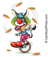 Donkey Clown - Illustration of Donkey Clown riding little...