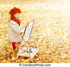 Child Autumn Park Painting Picture On Easel. Creative Little Kid and Yellow Fall Leaves