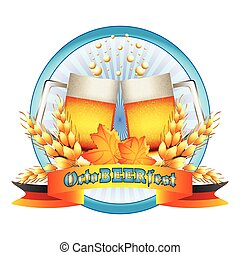 Colorful logo for postcards and greetings with Oktoberfest....