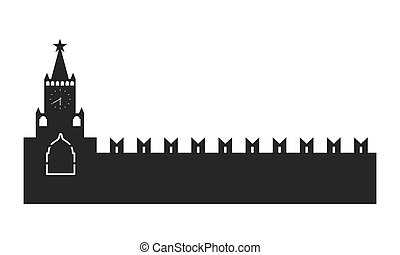 Kremlin silhouette Vector illustration isolated on white...