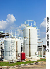 chemistry tank in factory with blue sky