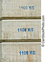 counterweight - Concrete counterweight blocks used in...