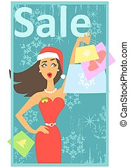 Christmas shopping design with happy excited woman holding...