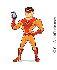Handsome Superhero Gadget - handsome cartoon superhero...