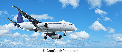 Jet plane in a blue cloudy sky. Panoramic composition.