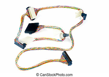 SCSI data cable on white - SCSI data cable with connectors...