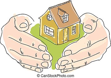 Drawn colored humans hands holding house