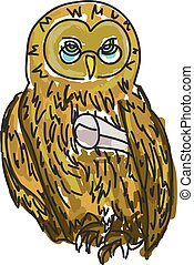 Drawn owl with diploma