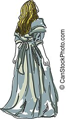 Drawn woman in evening gown. Vector illustration