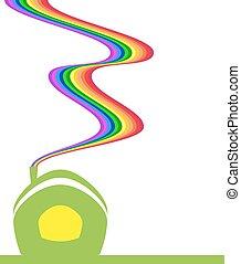 rainbow house - the green house. Of the tube is a rainbow