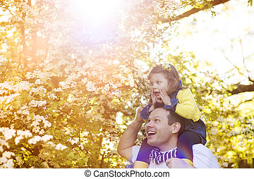 Happy father with his daughter in nature - Happy father with...