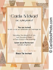 Art deco vector invitation card - Vector illustration of...