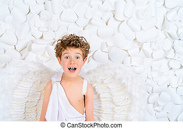 boy angel - Portrait of a lovely little boy in a costume of...