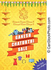 Happy Ganesh Chaturthi Sale offer - vector illustration of...