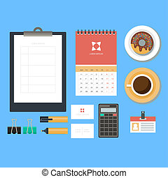 Workplace concept Flat design Set of objects on the table