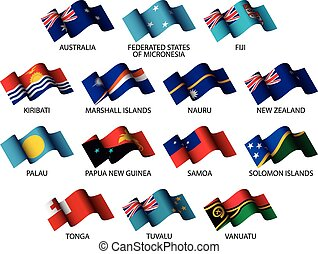 oceania flags - set of all oceania flags on white background