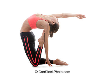Pose ushtrasana - Sporty yoga girl stands on her knees on...
