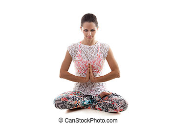Yoga pose sukhasana - Yoga girl on white background in...