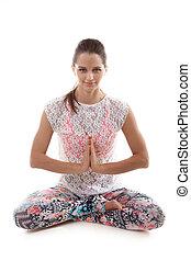 Yoga pose sukhasana - Yoga girl on white background in...