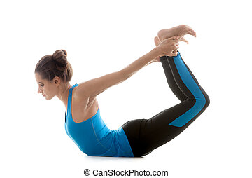 Yoga girl practicing - Sporty yoga girl on white background...