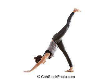 Sport practice - Sporty yoga girl on white background...