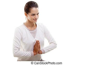 Yoga gesture namaste - Yoga girl on white background with...