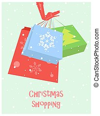 Christmas shopping card - Hand in red glove holding shoppin...