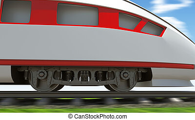 Modern train moving on rail-tracks, close-up view - Modern...
