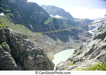 Trift suspension bridge - Suspension bridge Trift at glacier...