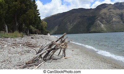 Landscape of lake Wakatipu, South Island, New Zealand -...