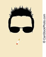 Cool Man - Face symbol of a man wearing sunglasses and...