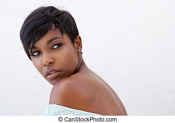 Close up elegant african american woman - Close up side...