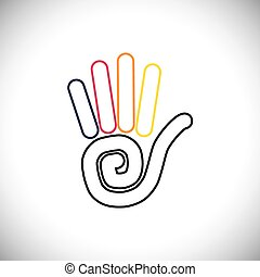 stop hand sign colorful vector logo line icon. this also...