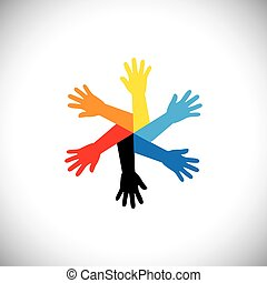 concept vector icon of hands as a circle. this graphic also...