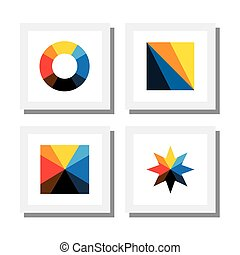 set of colorful geometric shapes of traingle, circle, square and star - vector icons