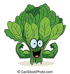 Super Spinach - Cartoon character of spinach with muscular...