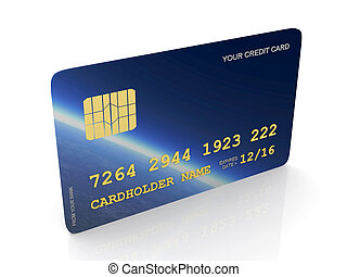 Credit Card - 3D rendered Illustration. Isolated on white.