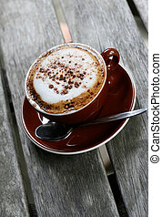 Coffee time. - Cup of delicious hot cafe latte coffee.