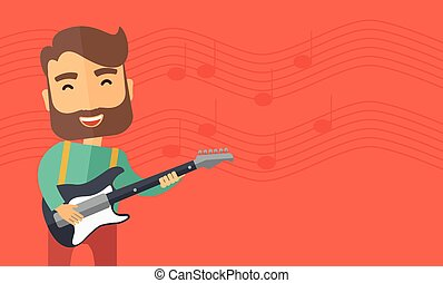 Musician is playing electrical guitar - A singing musician...