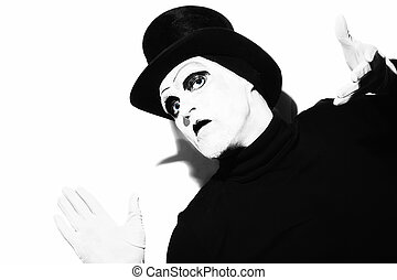 mime wearing a black top-hat - Portrait of a gloomy theater...