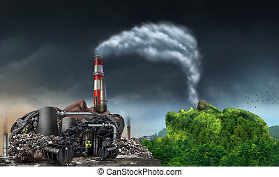 Industry Pollution - Industry pollution environment concept...