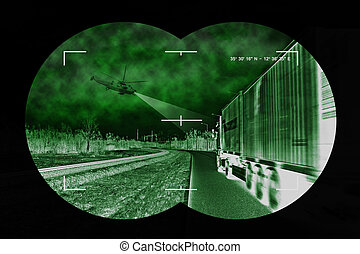 Truck chase - view from nightvision - A helicopter was used...