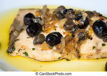 Delicious swordfish with sweet and sour onions and olives