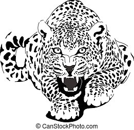 Leopard in black interpretation - Leopard , can be use in...