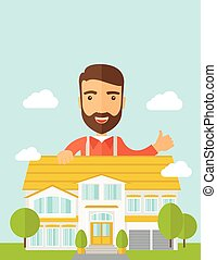 Man at the back of house structure plan - A caucasian happy...
